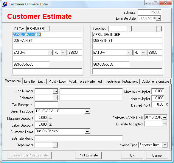 Estimates-Entry-1-Parameters
