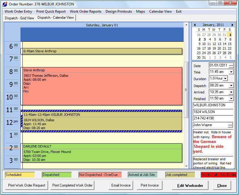 Service Dispatch - Calendar View - Day