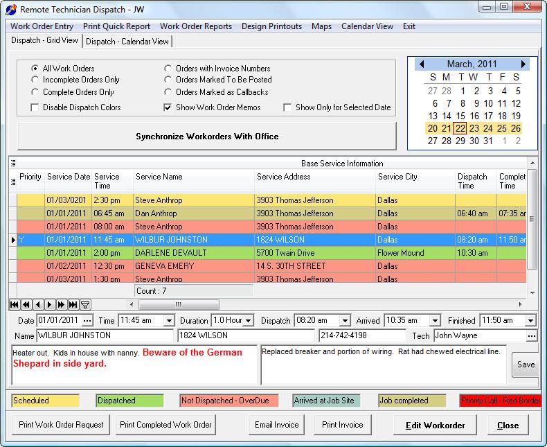 Service Dispatch - Grid View